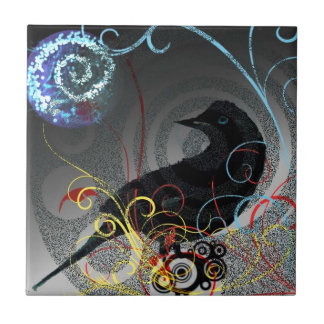 Day Glo Raven Small Square Tile