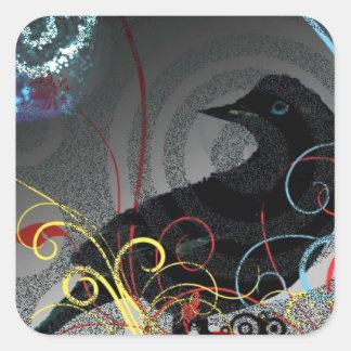 Day Glo Raven Square Sticker