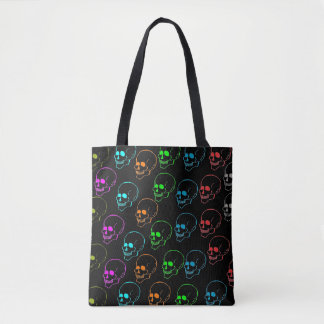 Day Glow Skulls Tote Bag