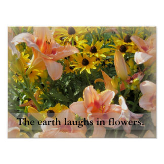 Day Lilies and Brown Eyed Susans in Garden Poster