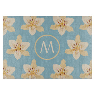 Day Lily Illust Big Ptn on Lt Blue(Personalized) Cutting Board