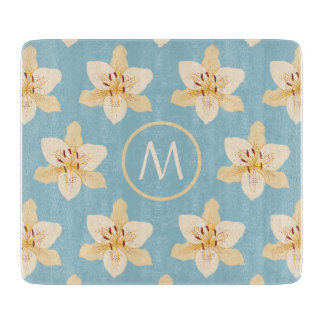 Day Lily Illust Big Ptn on Lt Blue(Personalized) Cutting Boards