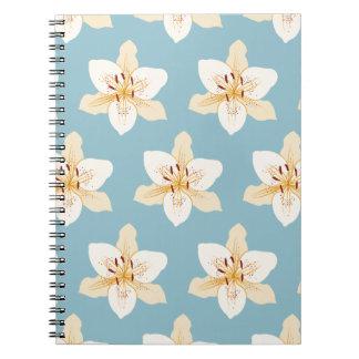 Day Lily Illustrative Big Ptn on Light Blue Notebook