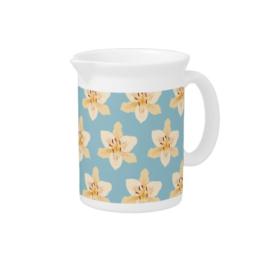 Day Lily Illustrative Ptn on Light Blue Pitcher