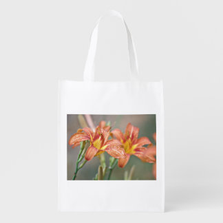 Day lily reusable grocery bag