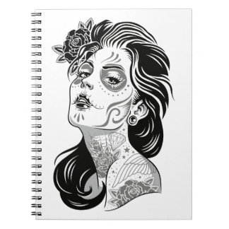 Day of dead sexy girl with roses notebook