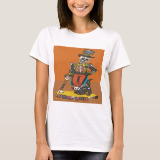 Day of Dead Skelton and Cat T-Shirt