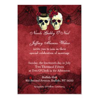 Day of Dead Skull Bride Groom Wedding Invitation