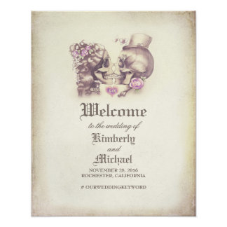 Day of Dead Skull Couple Wedding Welcome Sign Poster