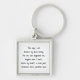 Day of Divorce Souvenir Silver-Colored Square Key Ring