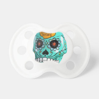 Day of the Dead Aqua Candy Skull Baby Pacifiers