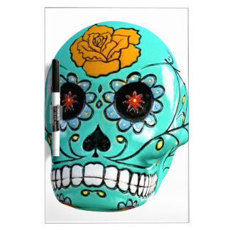 Day of the Dead Aqua Candy Skull Dry Erase Whiteboard