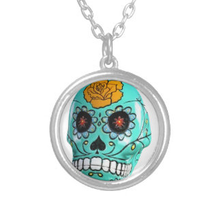 Day of the Dead Aqua Candy Skull Round Pendant Necklace