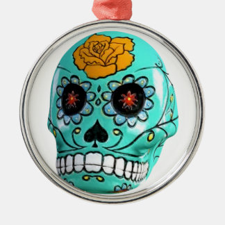Day of the Dead Aqua Candy Skull Silver-Colored Round Decoration