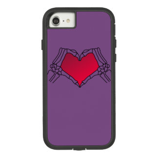 Day of the Dead, black bones with Neon red heart Case-Mate Tough Extreme iPhone 8/7 Case