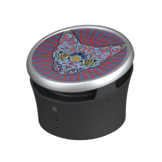Day of the Dead Blue Cat Sugar Skull Bluetooth Speaker