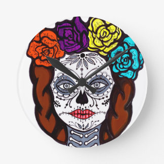 Day of the Dead Bride Round Clock