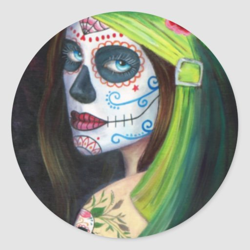 Day of the Dead by Lori Karels Round Sticker