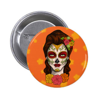 Day of the Dead Calavera Girl in Orange Buttons