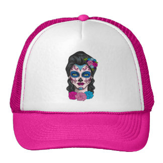 Day of the Dead Calavera Girl in Pink and Blue Trucker Hat