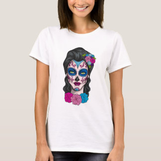 Day of the Dead Calavera Girl in Pink and Blue T-Shirt