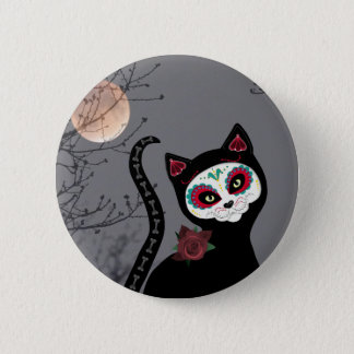 Day of the Dead Cat 6 Cm Round Badge