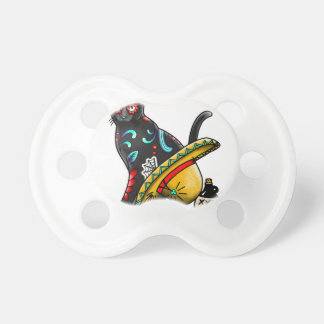 Day of the dead cat baby pacifier