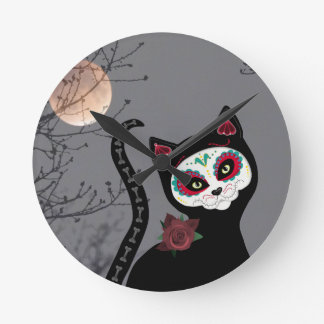 Day of the Dead Cat Clock