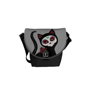 Day of the Dead Cat Messenger Bag