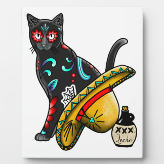 Day of the dead cat plaque