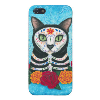 Day of the Dead Cat Sugar Skull Art iPhone Case iPhone 5 Case