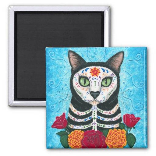 Day of the Dead Cat Sugar Skull Art Magnet
