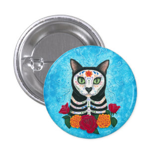 Day of the Dead Cat Sugar Skull Cat Art 3 Cm Round Badge