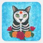 Day of the Dead Cat Sugar Skull Cat Art Sticker
