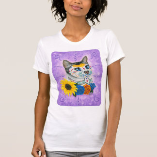 Day of the Dead Cat Sunflowers Sugar Skull Cat Art T-Shirt