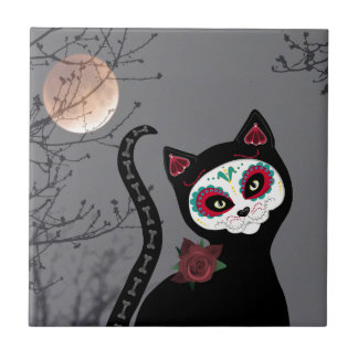 Day of the Dead Cat Tile