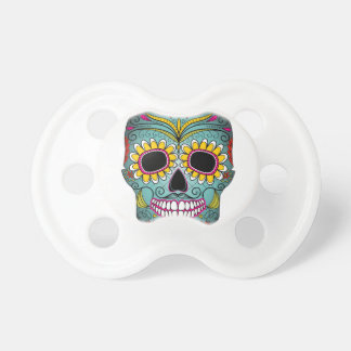 day-of-the-dead-colorful-skull-with-floral-ornamen pacifier