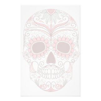 Day Of The Dead Colorful Skull With Floral Stationery Design