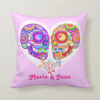 Day of the Dead Couple Pillow - Customize it! Throw Cushion