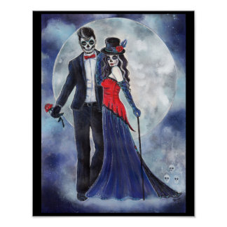 Day of the dead couple poster by Renee Lavoie