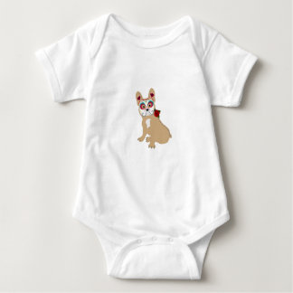 Day of the Dead Cream  Frenchie Baby Bodysuit