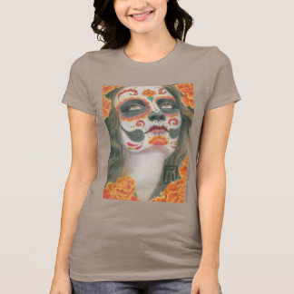 Day of the Dead Face with Marigolds T-Shirt