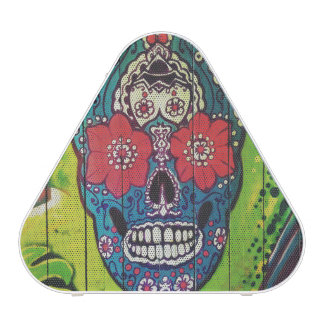 Day of the Dead Funky Blue and Green Sugar Skull
