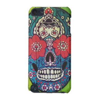 Day of the Dead Funky Blue and Green Sugar Skull iPod Touch (5th Generation) Covers