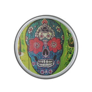 Day of the Dead Funky Blue and Green Sugar Skull Speaker