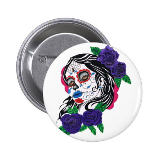day of the dead girl pinback button