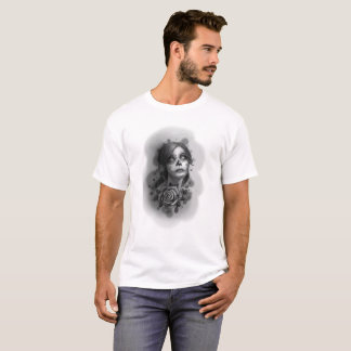 Day of the Dead Girl Black and White Pencil Sketch T-Shirt