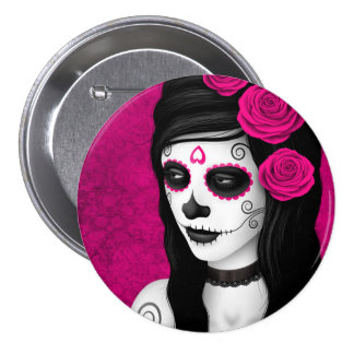 Day of the Dead Girl with Pink Roses Pin
