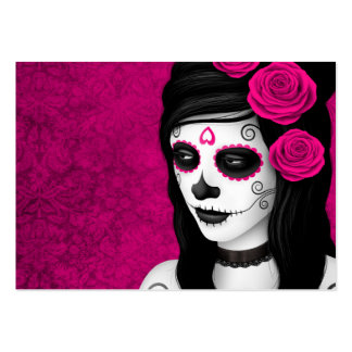 Day of the Dead Girl with Pink Roses Business Card Template