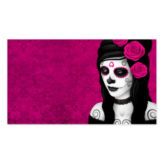 Day of the Dead Girl with Pink Roses Business Card Templates